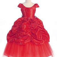 Red Taffeta Embroidered Cinderella Dress