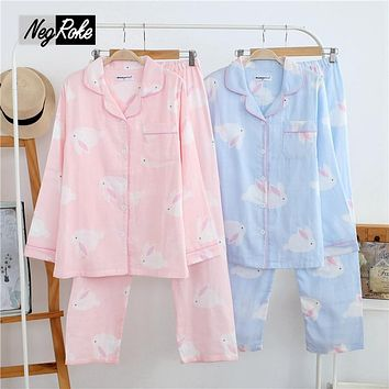 2017 Spring Fresh Japanese cute sleepwear for women 100% cotton rabbit Mori Girl womens pajamas sets Long sleeve pijamas mujer