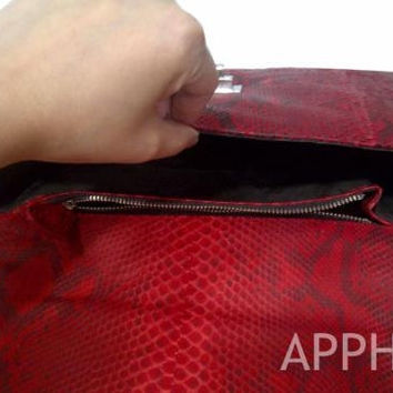 Hovy Genuine Exotic Python Handbag in Red Pattern