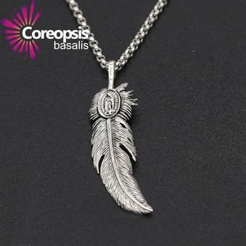 ICIKG2 COREOPSIS Jewelry 925 sterling silver jewelry Retro Thai silver men and women handmade eagle feather Pendant 2017 new product