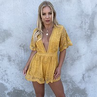 Popping Chic & Lace Romper in Mustard