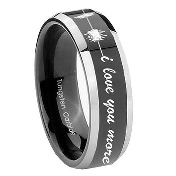 10MM Beveled Two Tone Sound Wave i love you more more Shiny Black Middle Tungsten Men's Ring
