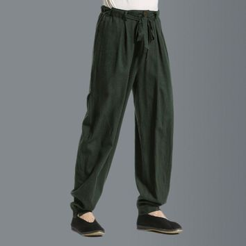 Summer Fashion Male Casual Linen Pants Solid Color Straight Loose Thin Breathable Men green black Fluid Long Trousers 052809