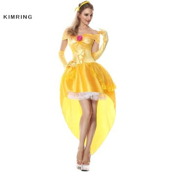 Kimring Belle Princess Halloween Costume Fantasia Women Cosplay Beauty And The Beast Adult Princess Costume Fancy Party Dress
