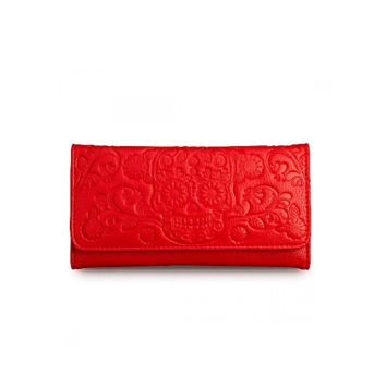 Loungefly – Embossed Sugar Skull Wallet In Red PU | Thirteen Vintage