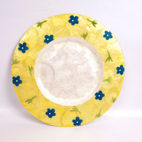 Vintage Capiz Serveware Philippines Charger Plate Hand Painted Floral Yellow Platter Mother of Pearl