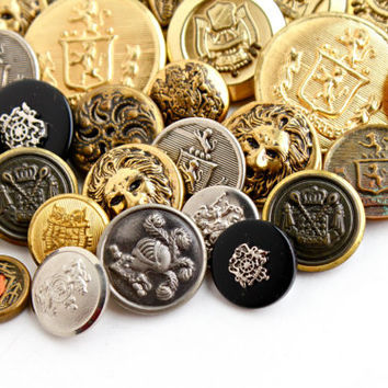Vintage Brass Crest, Lion, Knight Button Lot - 28 Gold & Silver Tone Supply Shank Buttons / Military Findings