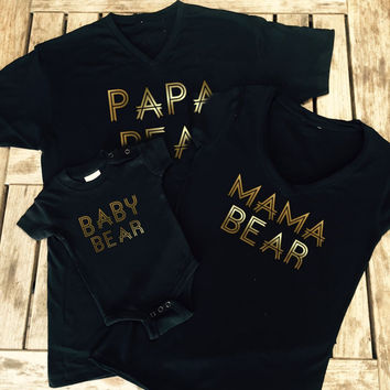 Mama Bear Shirt, Papa Bear Shirt, Baby Bear Onesuit Family T - Shirts, Made by Thinkelite1