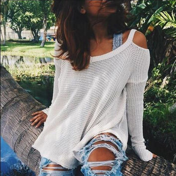 Fashion Hollow Out Strapless V-Neck Sweater