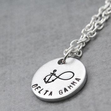 Delta Gamma Necklace, Sorority Necklace,  Sorority Letters, Delta Gamma, Jewelry Handstamped Necklace Personal Gift Idea
