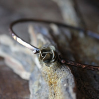 FORGET ME NOT, Copper arm band, armlet, upper arm, hand forged, rose, patina