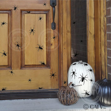 Halloween Spiders Vinyl lettering wall decal spider set of 40 home decor prank