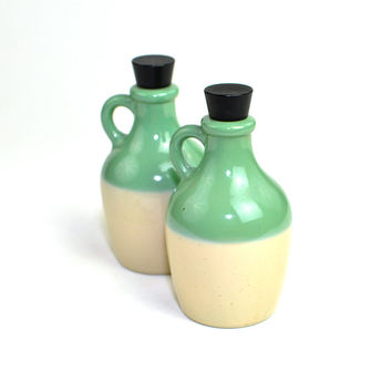 Mint Glass Jug Bottles (2) by Avon - Seafoam Green Over Sand Beige Painted, Plastic Black Screw Caps - Vintage Retro Home Decor