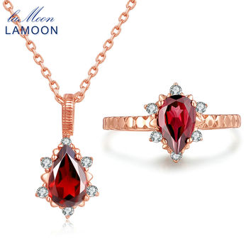 LAMOON 5x7mm 1ct 100% Natural Red Garnet Pyrope 925 Sterling Silver Jewelry Rose Gold S925 Jewelry Set WTDP V032-1
