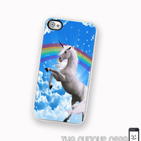 80's Unicorn iPhone 4S Case Rainbow Righteous Van Art  iPhone Hard Case / Fits Iphone 4, 4S