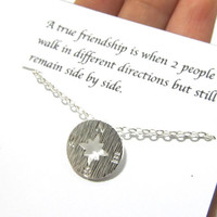 Friendship necklace, A1, Best friend necklace, Compass necklace, best friend gift, friendship gift, birthday gift, dainty compass necklace