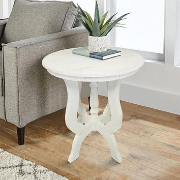 Round Wooden End Table with 4 Legged Flared Pedestal Base, Distressed White