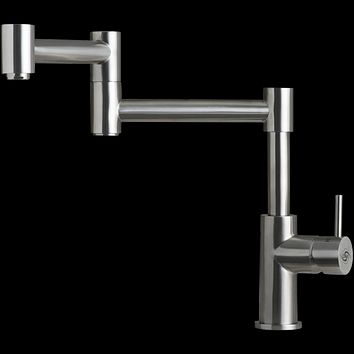 DAX-006-01 / DAX MODERN SINK KITCHEN FAUCET, SINGLE LEVER, STAINLESS STEEL BODY, BRUSHED STAINLESS STEEL FINISH