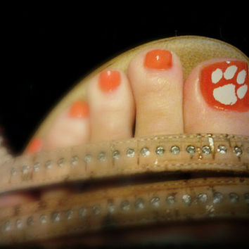 Game Day Toe Nail Decals Tiger Paw (12 total)