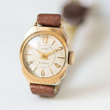 Retro watch for women Zaria – gold plated lady watch 50s - little woman watch mid century –rare womens watch gift- new premium leather strap