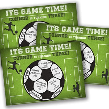 Boys Soccer Invitation - Soccer Birthday Party - Soccer Ball Invite - Boys Birthday Invitations - Sports - Game Time - Goal Invite Football