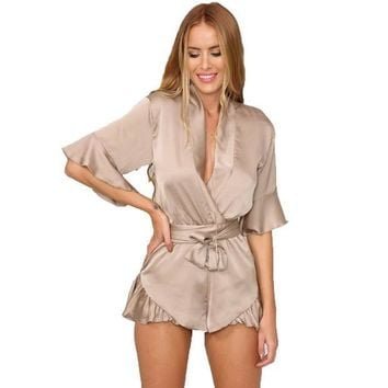 PEAPGB2 GJ106 New Woman Relax Loose Fit Deep V Neck 3/4 Sleeve Silk Ruffled Romper Satin Playsuit Casual Jumpsuits S-XL Tan Peach Black