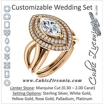 CZ Wedding Set, featuring The Magda Lesli engagement ring (Customizable Double-Halo Style Marquise Cut with Curving Split Band)