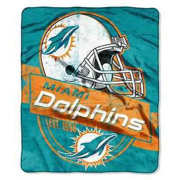 """MIAMI DOLPHINS 50""""X60"""" GRAND STAND PLUSH THROW BLANKET NEW  SHIPPING"""