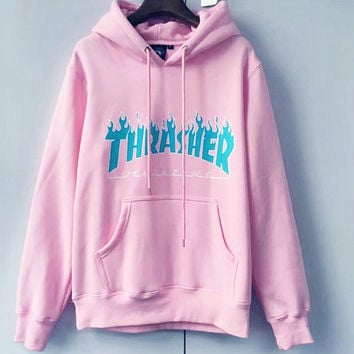 Men/Women sportswear Thrasher hoodie flame skateboard dead fly west hip-hop harajuku hooded fleece Thrasher THRASHER sweatshirt Pink