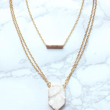 Gold Layered Collar and Druzy Pendant
