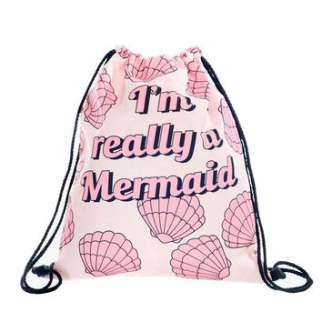 I'm really A Mermaid - Letters Drawstring Bags Cinch String Backpack Funny Funky Cute Novelty