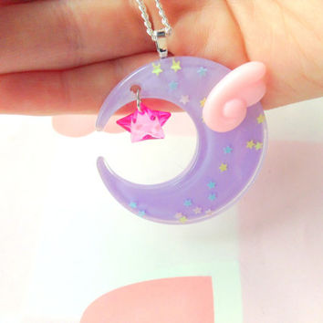 Fairy Kei Moon Necklace, Kawaii Angel Wing and Pink Star, Mahou Shoujo Moon Pendant, Kawaii Jewelry, Pastel Resin Necklace, Harajuku Lovers