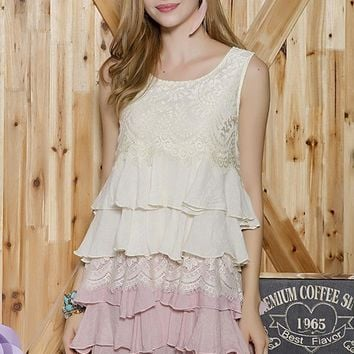 Tiered Ruffle Lace Tunic Dress - Beige/Mauve