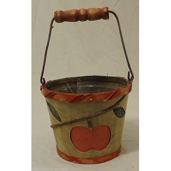 Apple Pail Planter Wood 5in x 4in With Plastic Liner -- Used