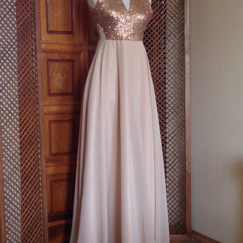 Champagne Bridesmaid Dress, Long Champagne Sequin Bridesmaid Dress, Floor Length Formal Dress, Sequin Evening Prom Dress, Evening Dress