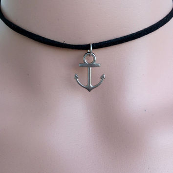 ANCHOR CHOKER NECKLACE Nautical Necklace Grunge Choker Necklace Black Suede Necklace Choker Necklace Beach Necklace Bohemian Jewelry