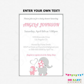 Pink and Gray Elephant Baby Shower Invitation, Girl Baby Shower Invitation Editable Baby Shower Invite Girl Baby Shower Printable EL0005-LP