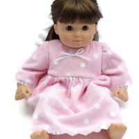 Polka Dot Doll Nightie White & Pink Fuzzy Pajamas Nightgown Ribbon Lace Bitty Twin 14 to 16 inch Baby Doll - US Shipping Included