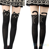 Black Cat Mock Knee High Hosiery Pantyhose Panty Hose Tights Cosplay