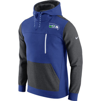 Men's Seattle Seahawks Nike Royal/Charcoal AV15 Historical Fleece Pullover Hoodie