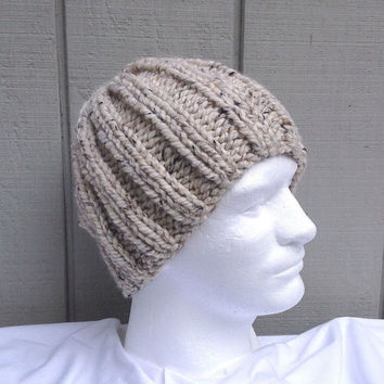 Mens chunky beanie - Super chunky hat - Knit wool beanie - Teens knitted hat