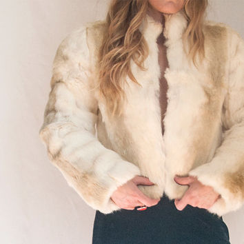 80s Real White Rabbit Fur Jacket - Size Small | Vintage Real Fur Coat Small XS White and Tan | Rocker Biker Bomber Jacket 1980s Boho Retro