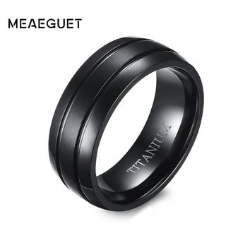 Meaeguet Trendy Two Line Titanium Rings For Men Wedding Bands Engagement Accessories Anel Jewelry Gifts For Lovers