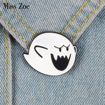 Boo Ghost Enamel pin Super Mario brooch Bag Clothes Lapel Pin Button Badge Cartoon Classic Video game Jewelry Gift for friends