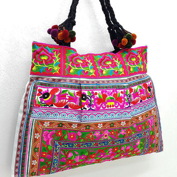 Thai Hill Tribe Bag Pom Pom Hmong Embroidered Ethnic Purse Woven Bag Hippie Bag Hobo Bag Boho Bag Shoulder Bag: Hot Pink Green