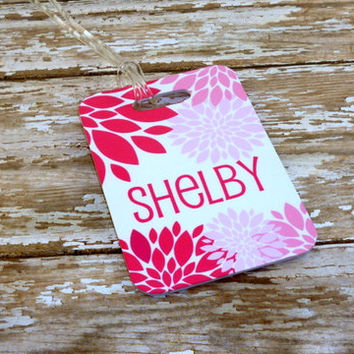 Personalized bag tag-Girls bag tag-Pink/purple flowers-floral bag tag-Dance tag CUSTOM{Double Sided} Fiberglass*NOT laminated Custom bag tag