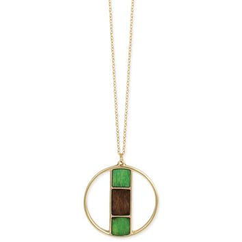 Shabby Chic Gold & Wood Geometric Necklace