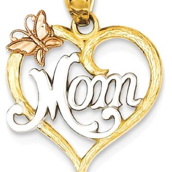 IceCarats 14k Two Tone Yellow Gold Mom Heart Pendant Charm Necklace
