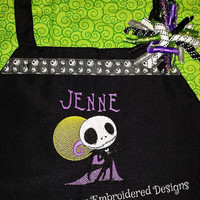Jack Skellington Nightmare Before Christmas Embroidered APRON and Korker Ribbon Barrette Cute Set from Designs by Sugarbear