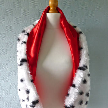 Cruella deville style stole / shawl / scarf for fancy dress  costume in Dalmation print faux fur